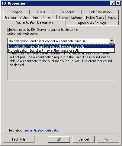 ISA server - Authentication Delegation